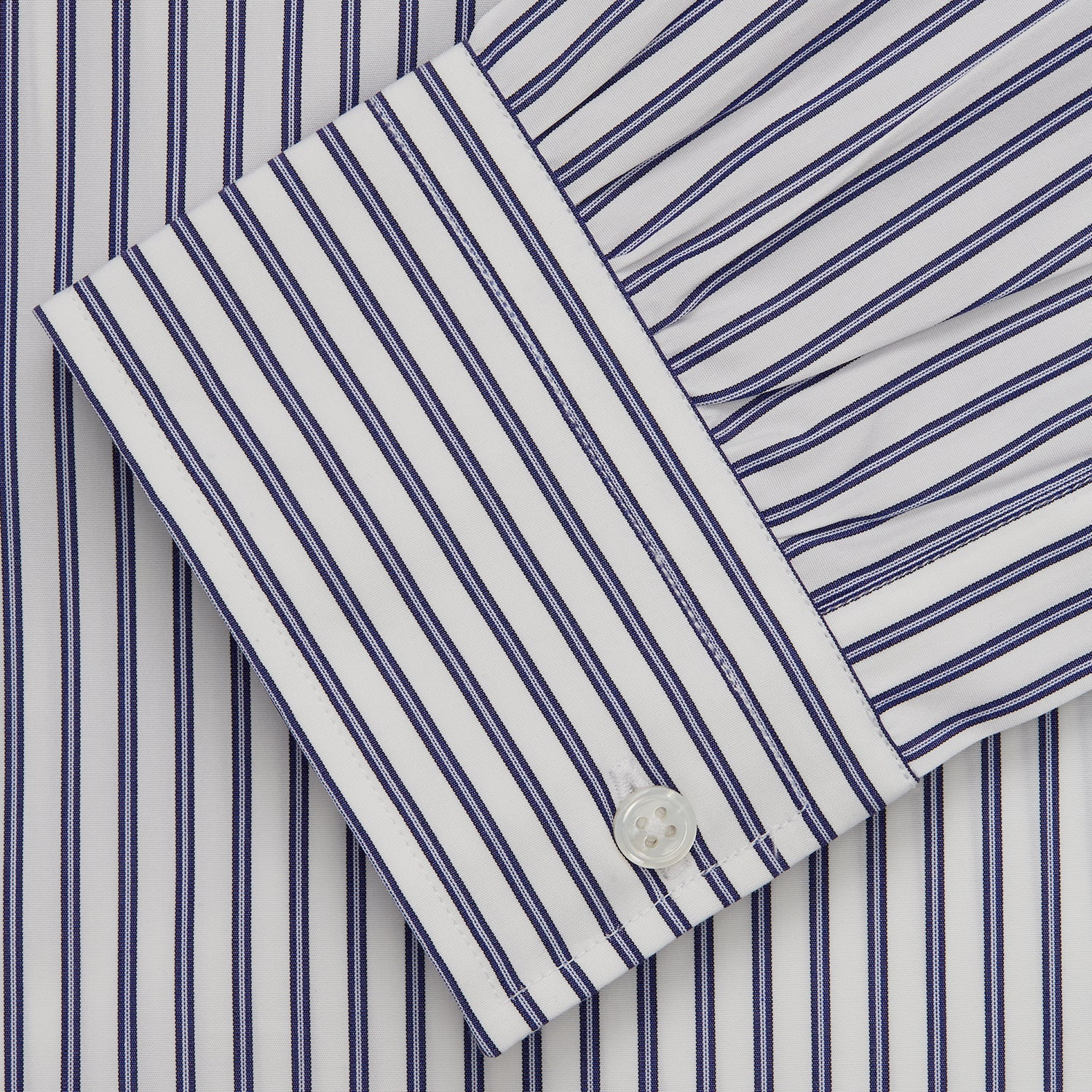 Navy Stripe Weekend Fit Shirt with Derby Collar and 1-Button Cuffs