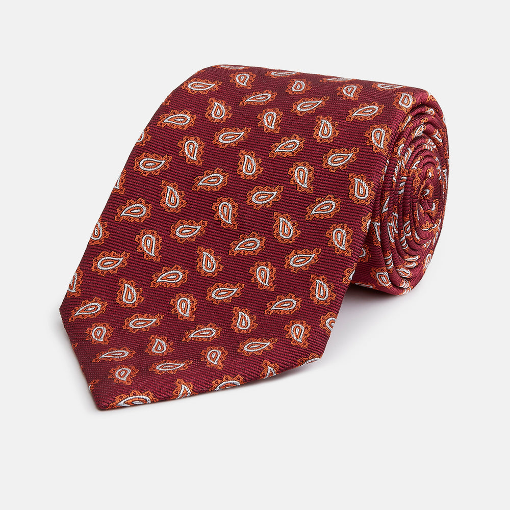 Red Abstract Paisley Silk Tie