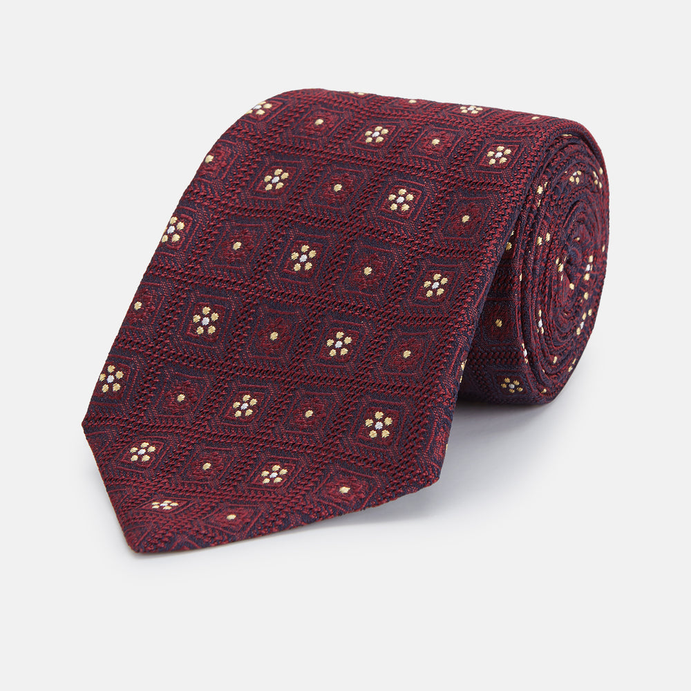 Burgundy Illusion Flower Silk Tie