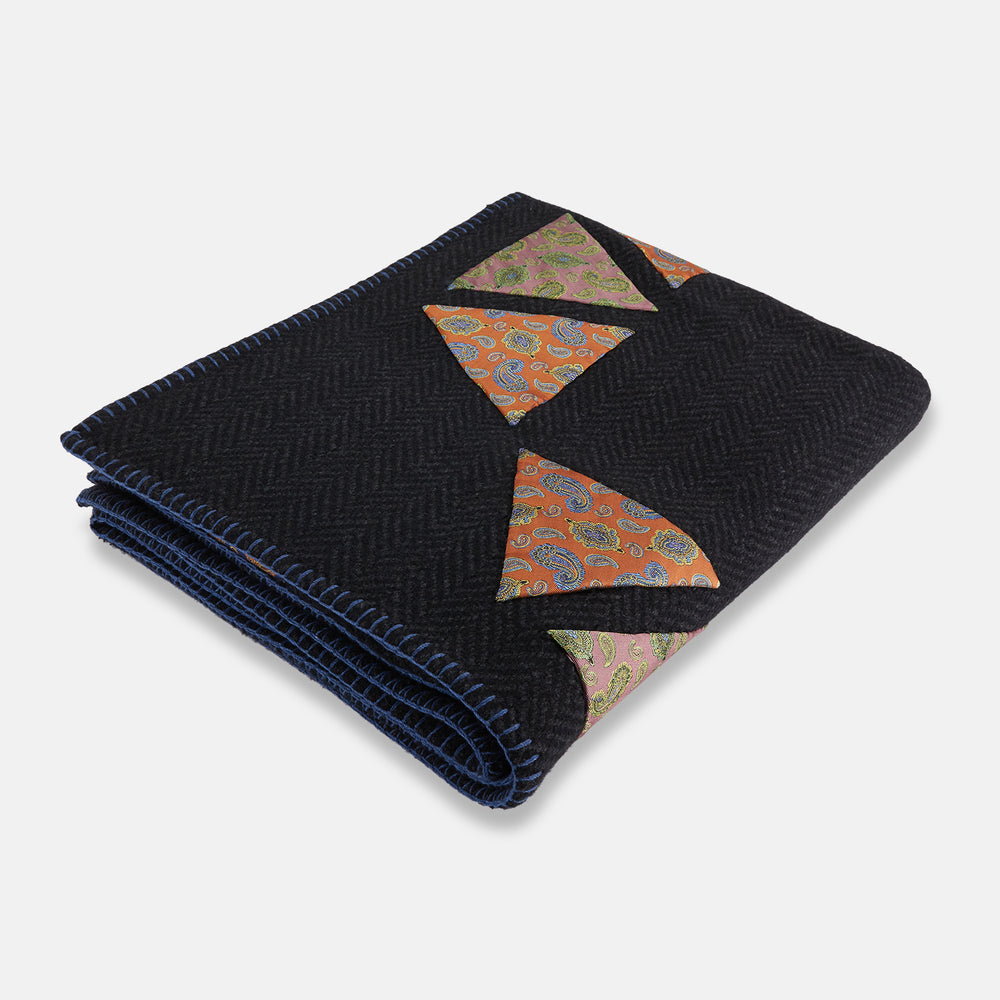 Charcoal Applique Hand Stitched Cashmere Blanket