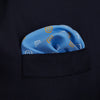 Pale Blue Diamond Eye Silk Pocket Square