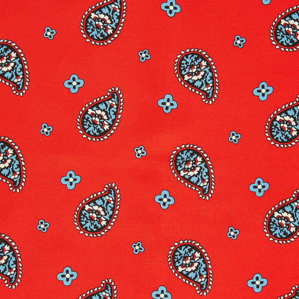 Red Squiggle Paisley Pocket Square