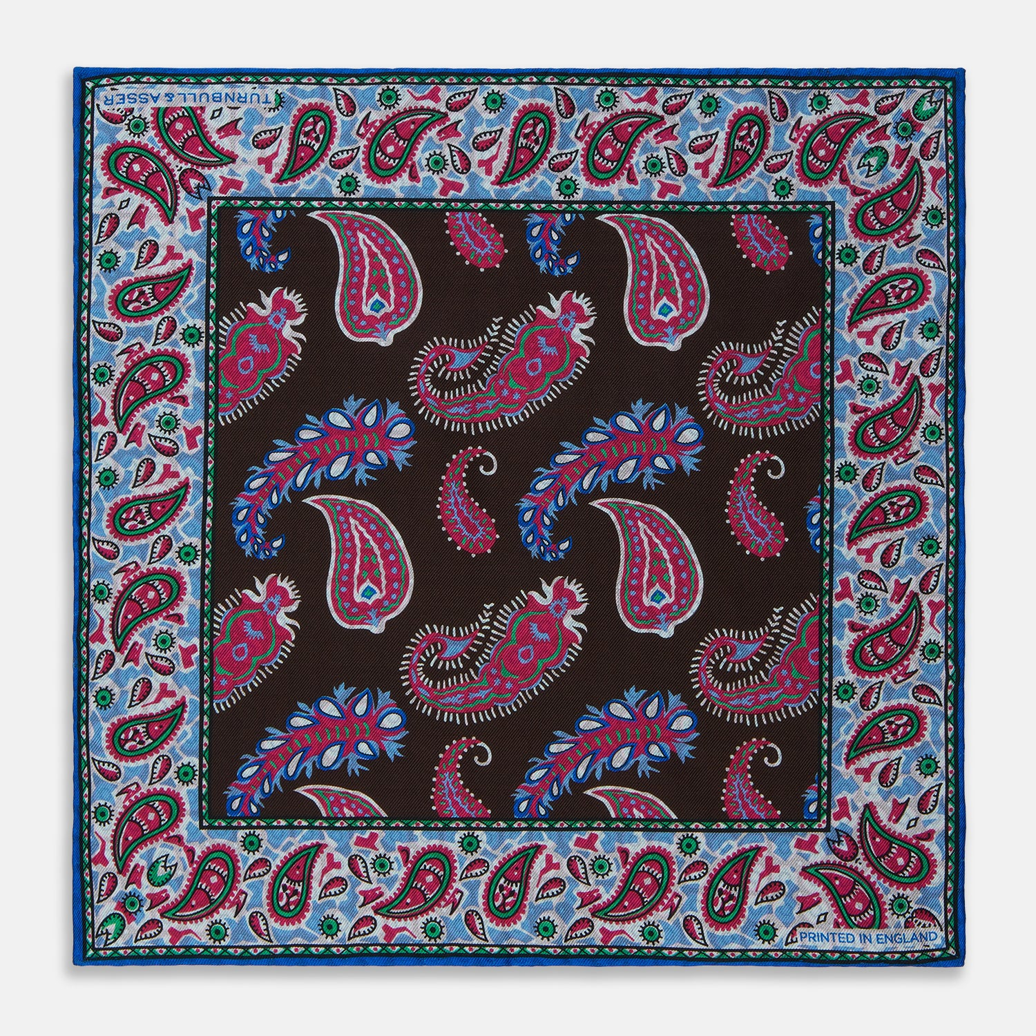 Dark Brown Double-Sided Paisley Silk Pocket Square
