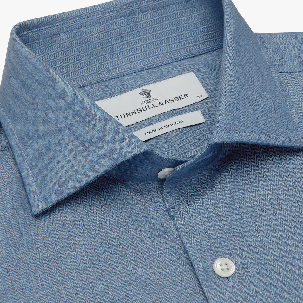 Blue Tailored Fit Shirt with Kent Collar and 2-Button Cuffs
