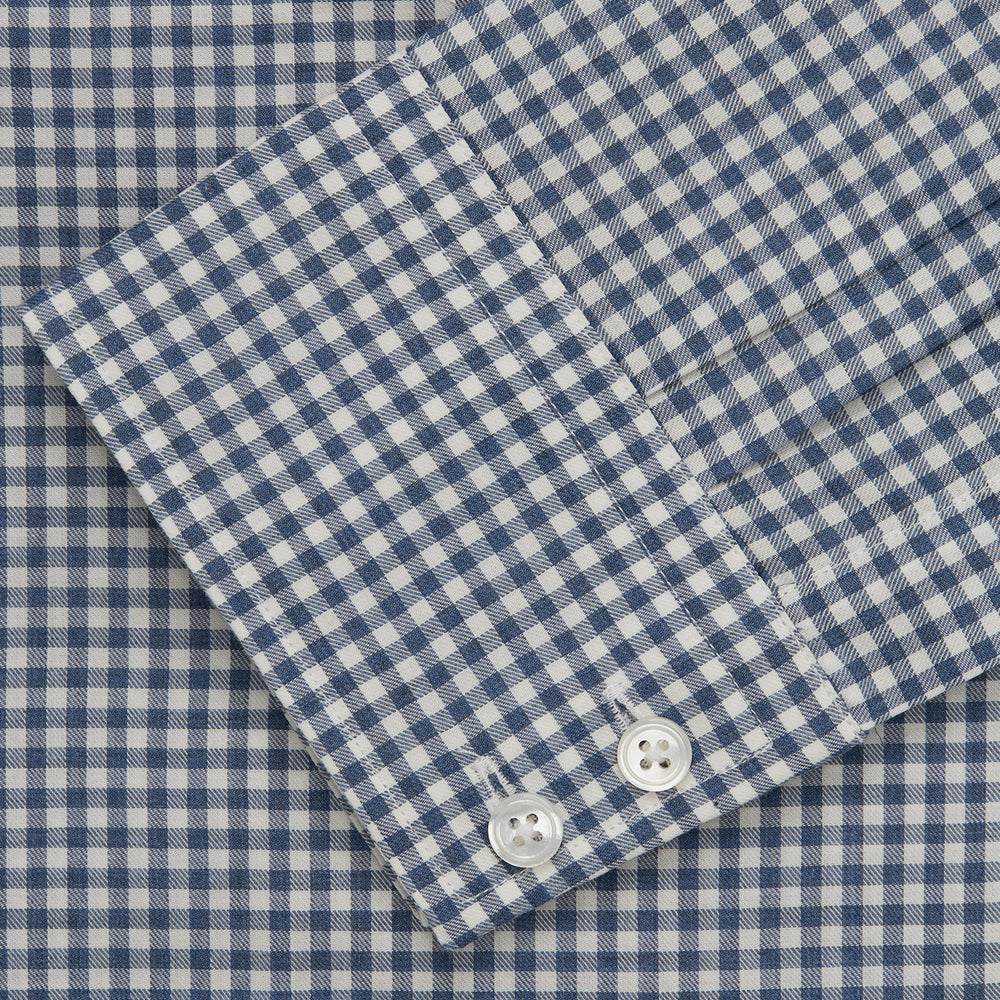 Blue Multi Check Tailored Fit Shirt with Kent Collar and 2-Button Cuffs