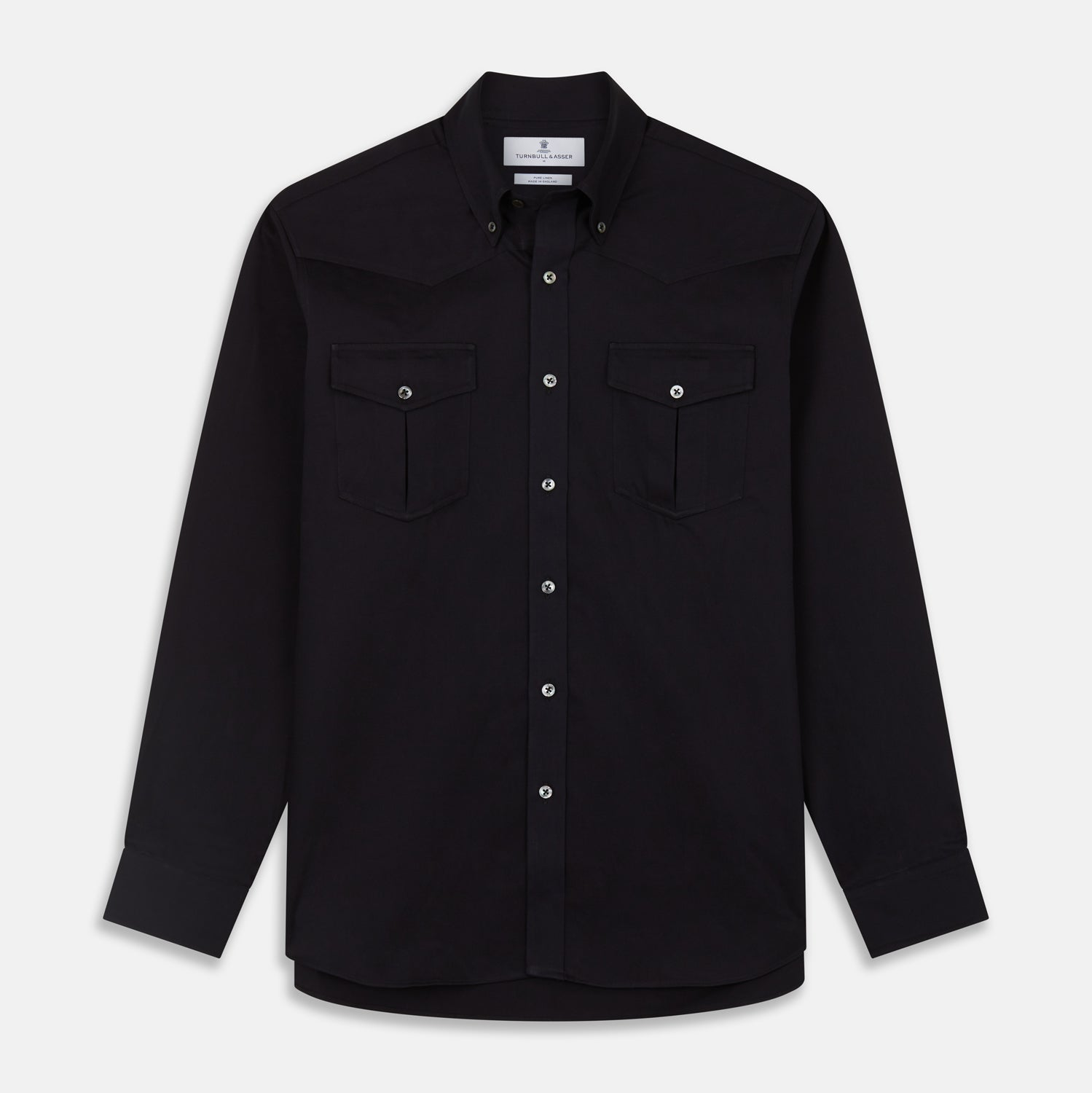 Navy Cotton Weekend Fit Western Shirt with Dorset Collar