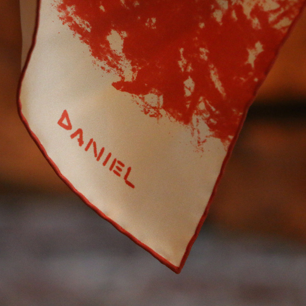 DANIEL PERKIN RED HEDGEHOG POCKET SQUARE
