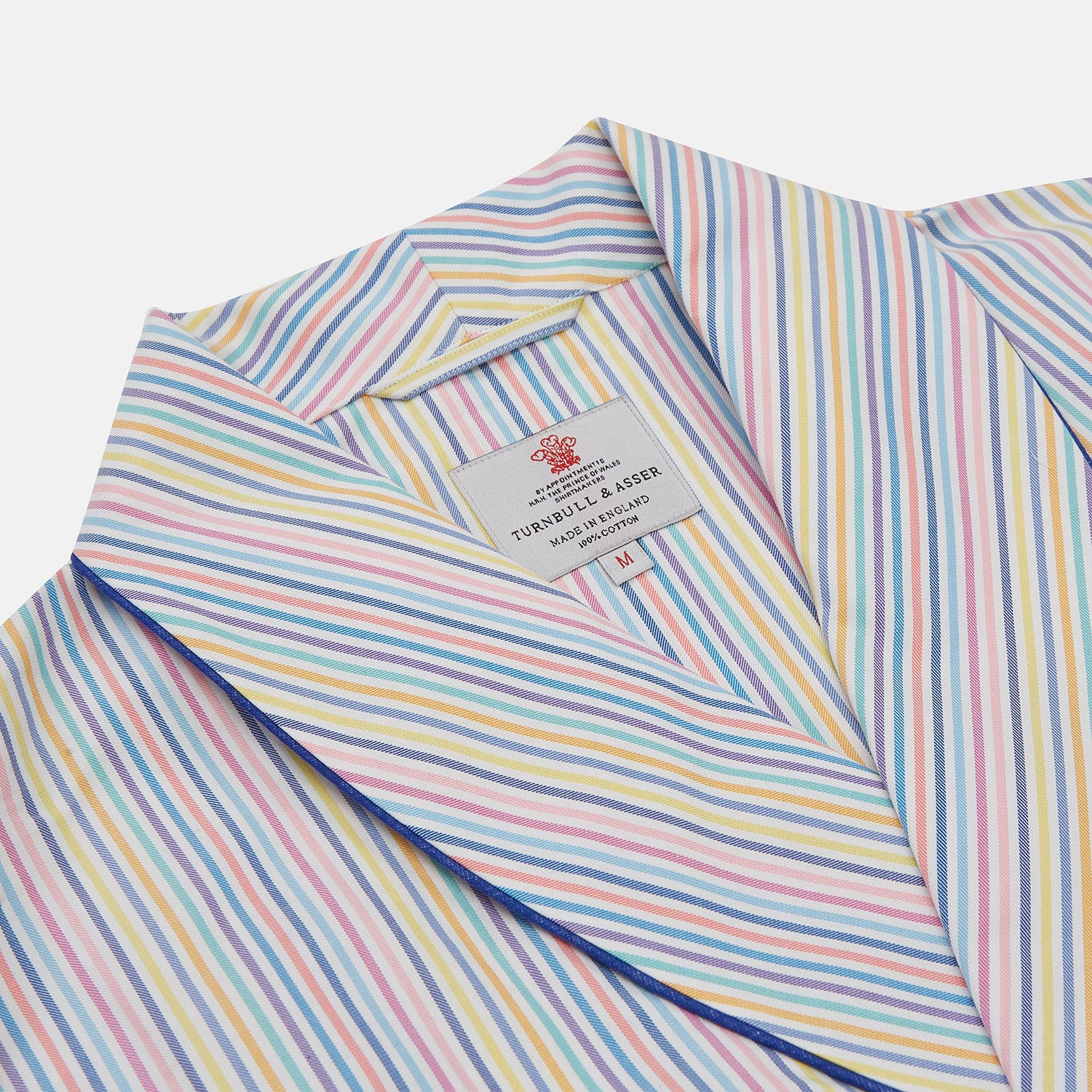 Multi-coloured Twill Cotton Stripe Dressing Gown