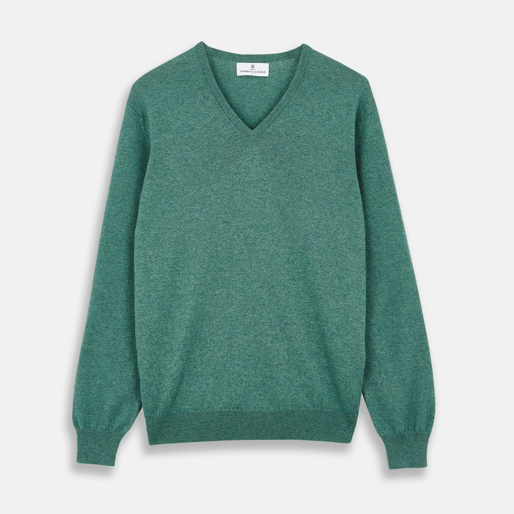 Green Cashmere V-Neck Jumper