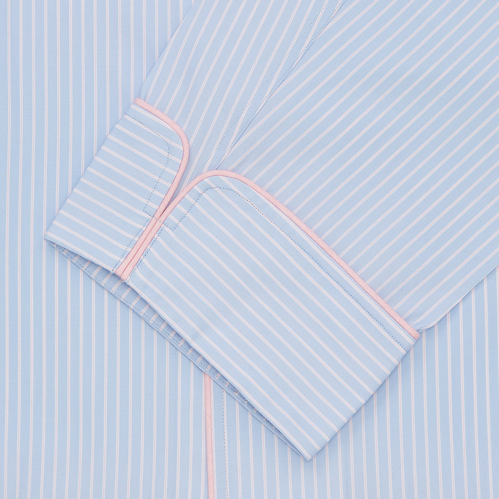 Blue & White Poplin Cotton Stripe Pyjama Set