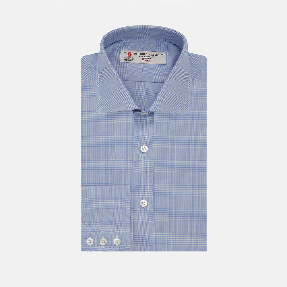 Blue Prince of Wales Check Shirt with Regent Collar and Button Cuffs