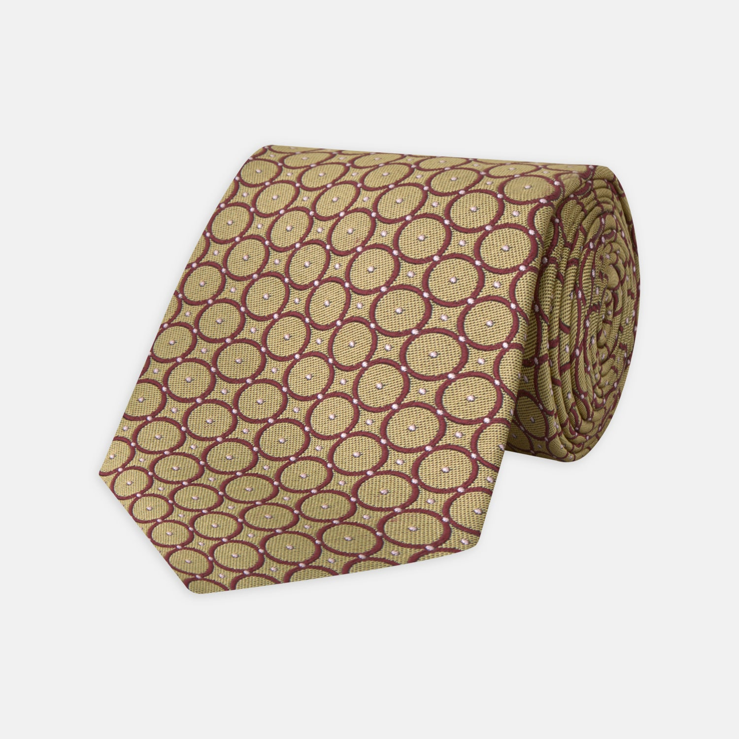 Gold and Burgundy Shield Silk Tie