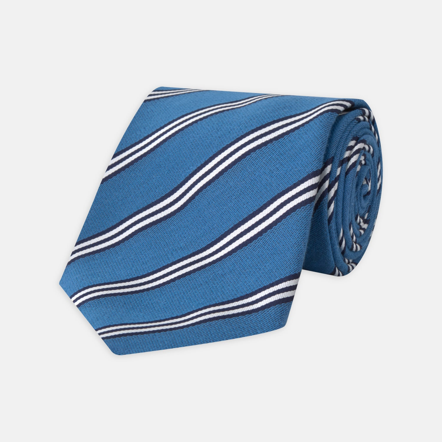 Blue Diagonal Stripe Cotton and Silk Tie