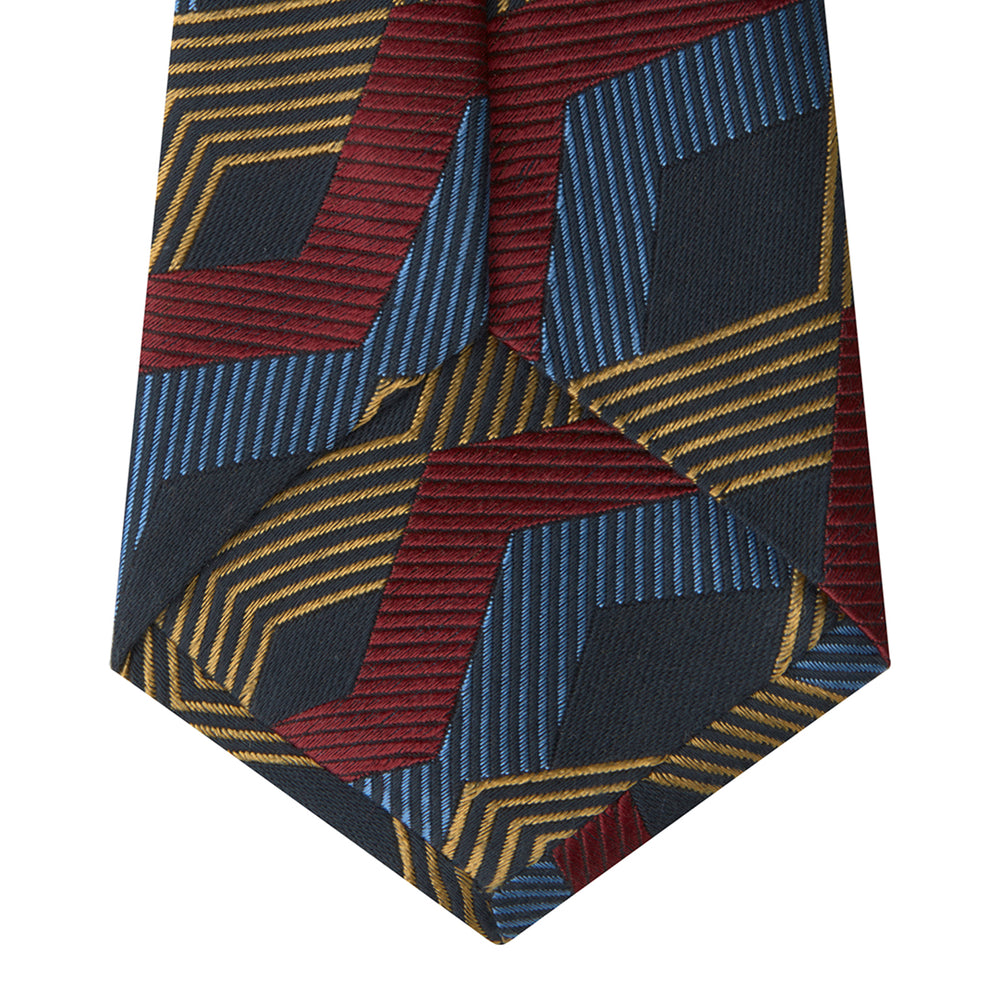 Navy, Red and Gold Zig Zag Silk Tie