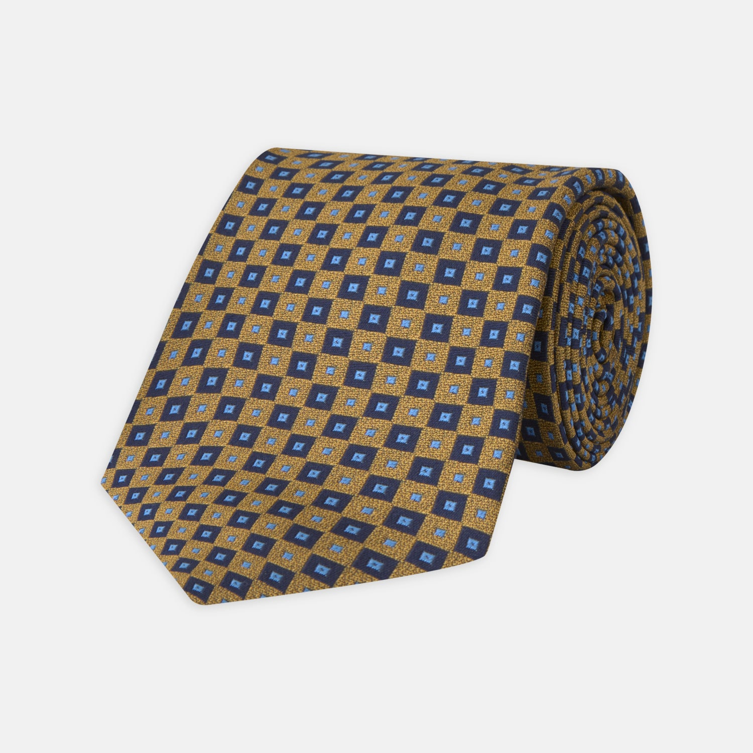 Gold and Blue Tiles Silk Tie