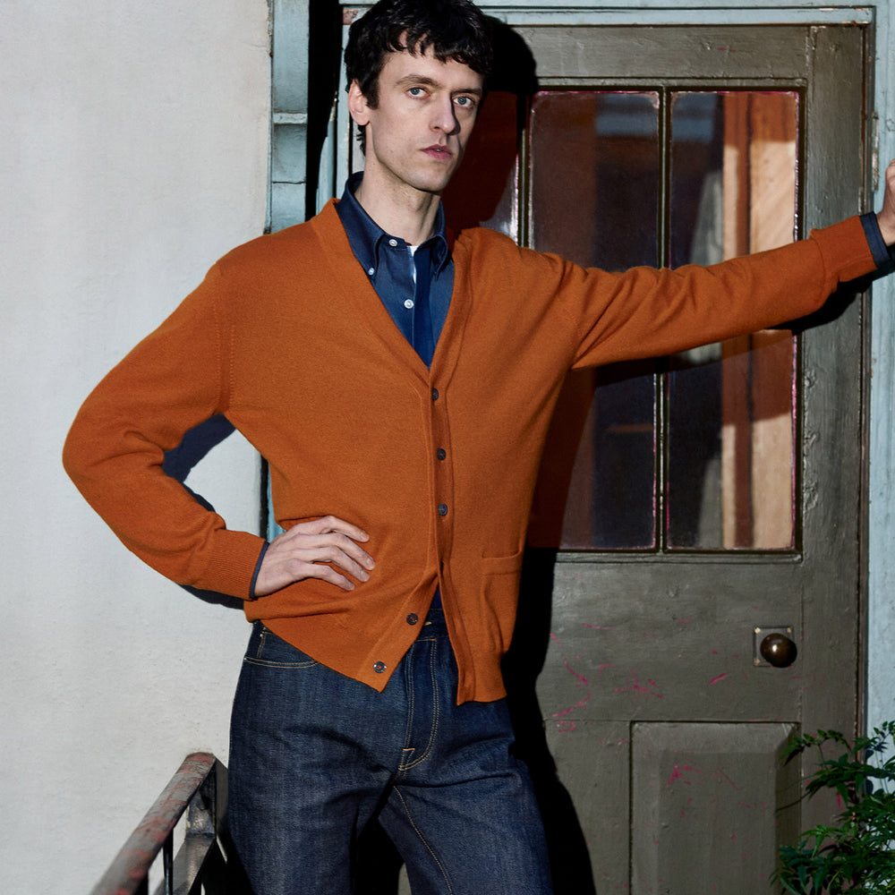 Rust Lachlan Cashmere Cardigan