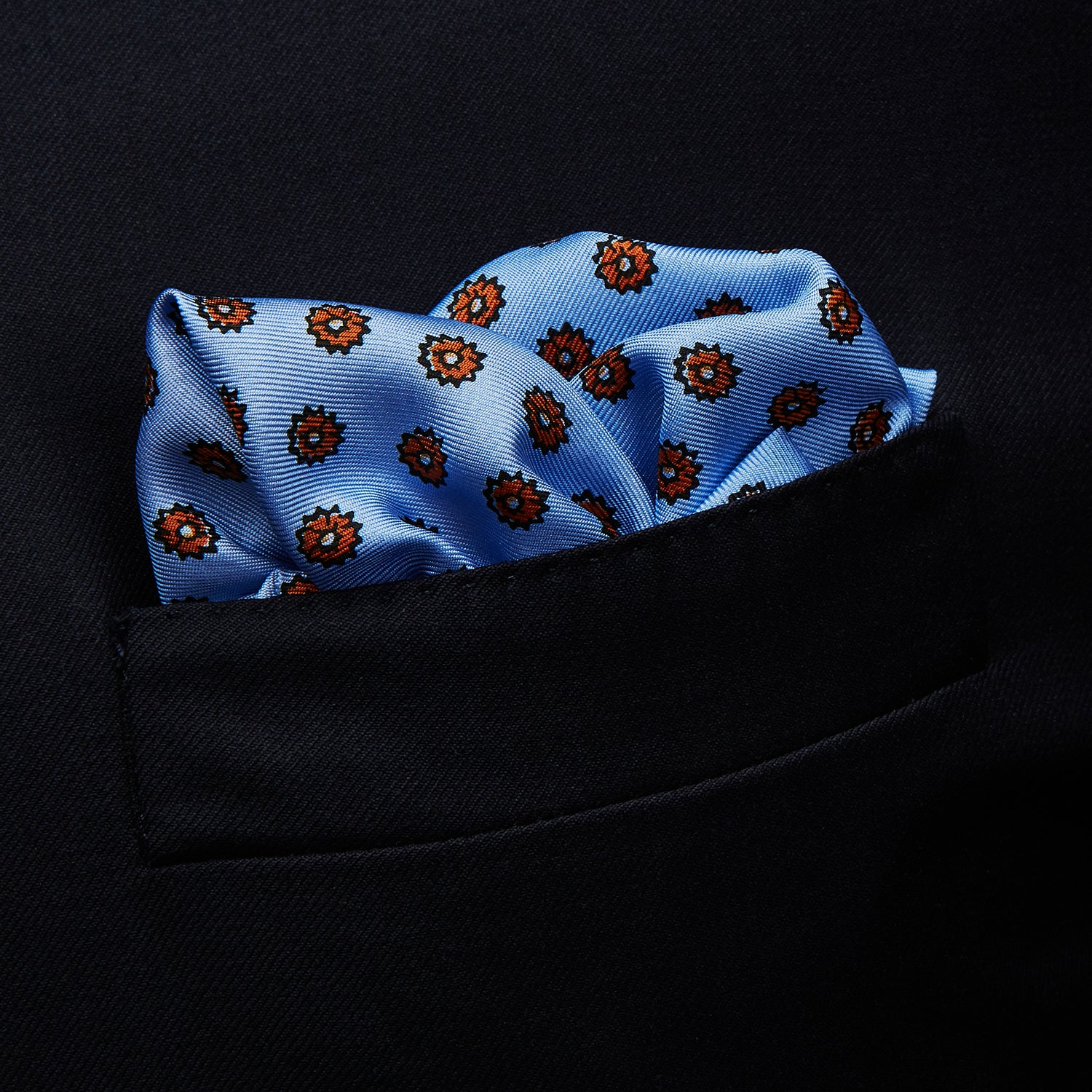 Sky Blue Fine Floral Print Silk Pocket Square