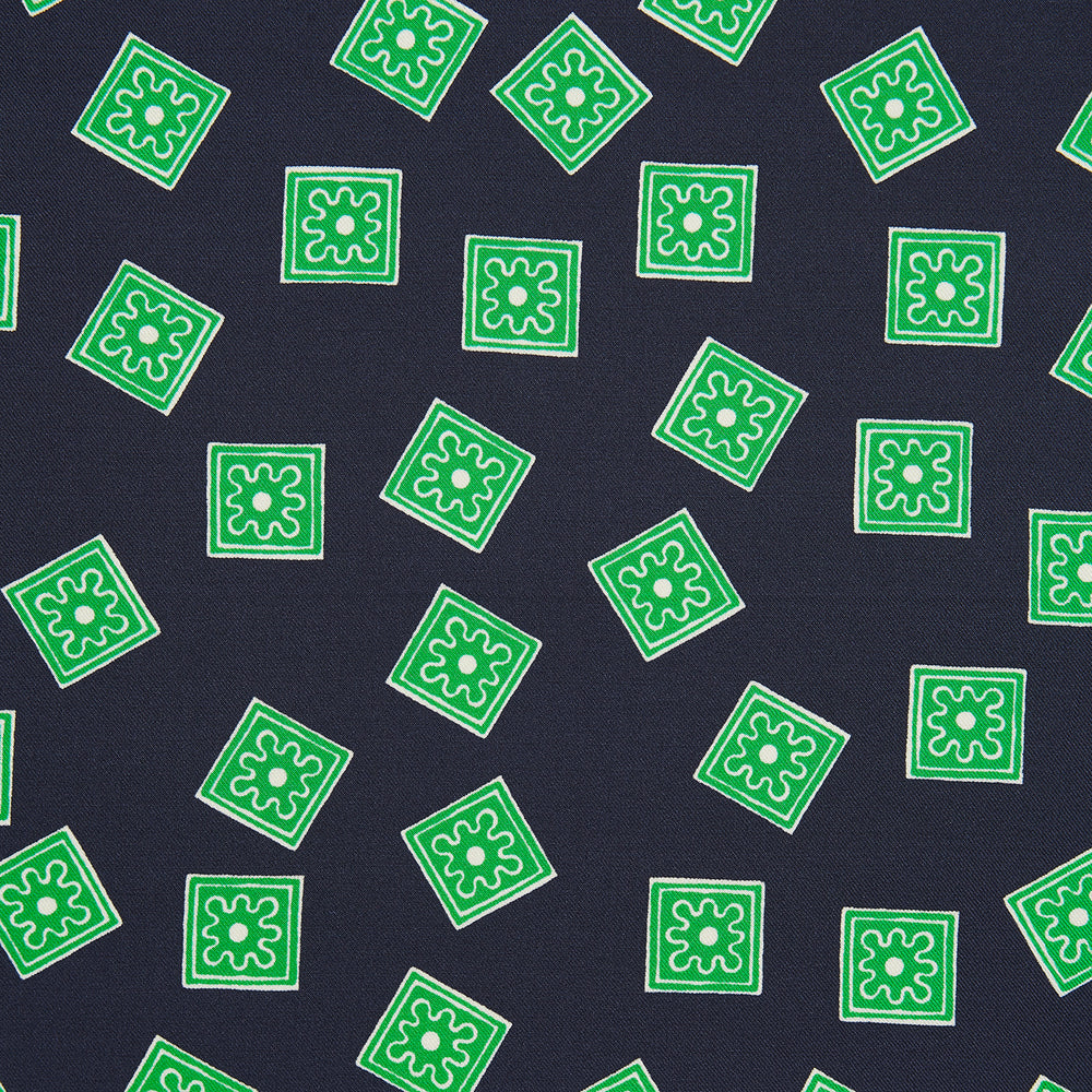 Navy and Kelly Green Tiled Floral Silk Pocket Square