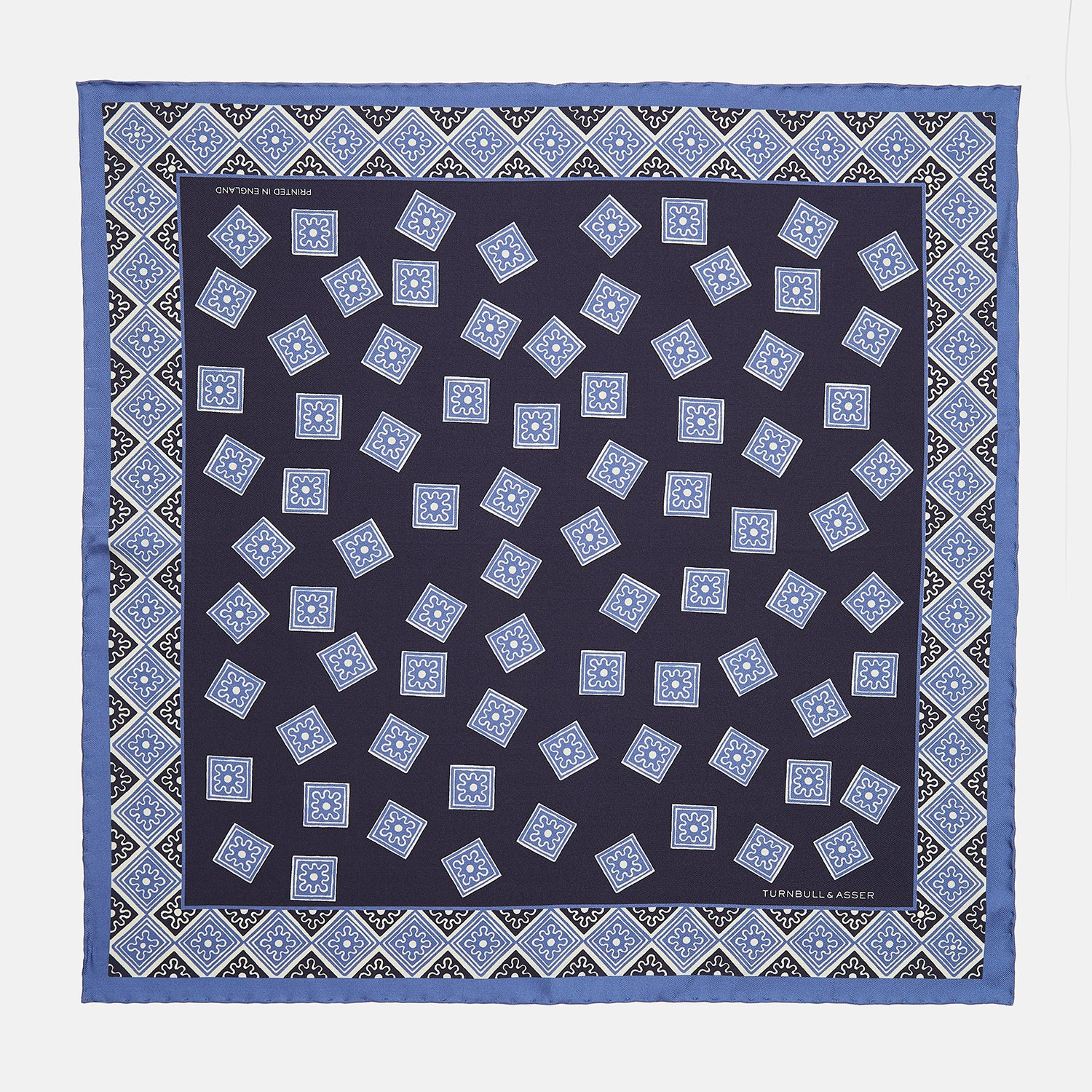 Navy and Sky Blue Tiled Floral Silk Pocket Square
