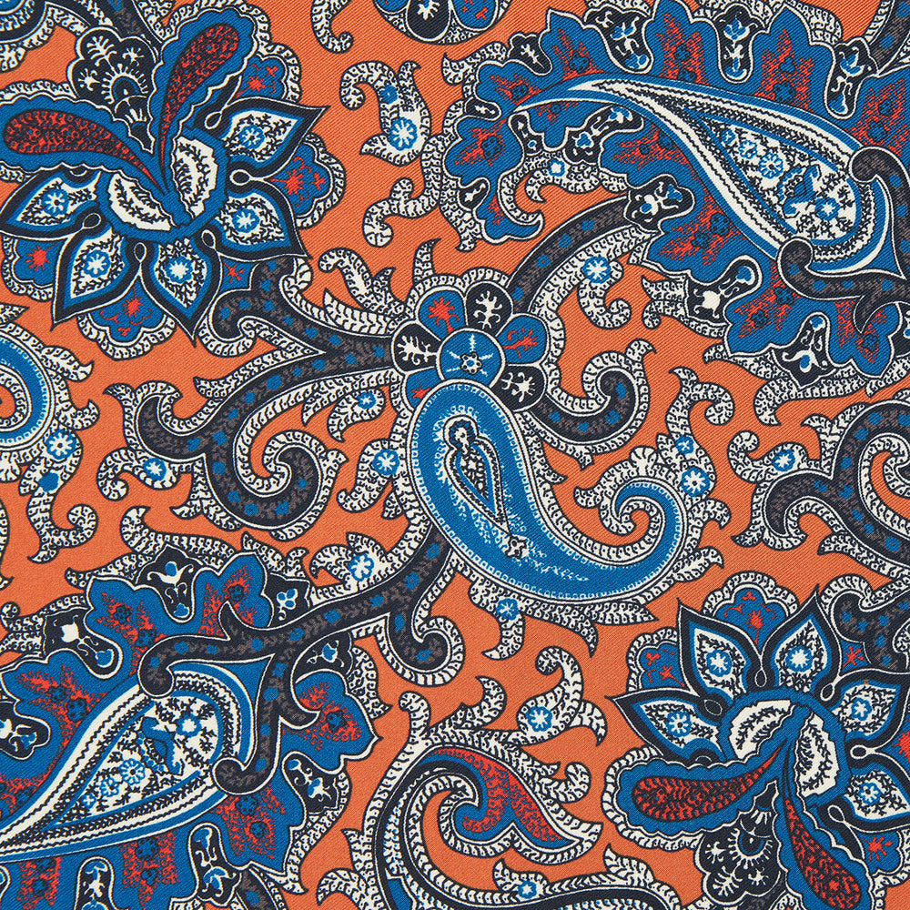 Orange and Turquoise Classic Paisley Silk Pocket Square