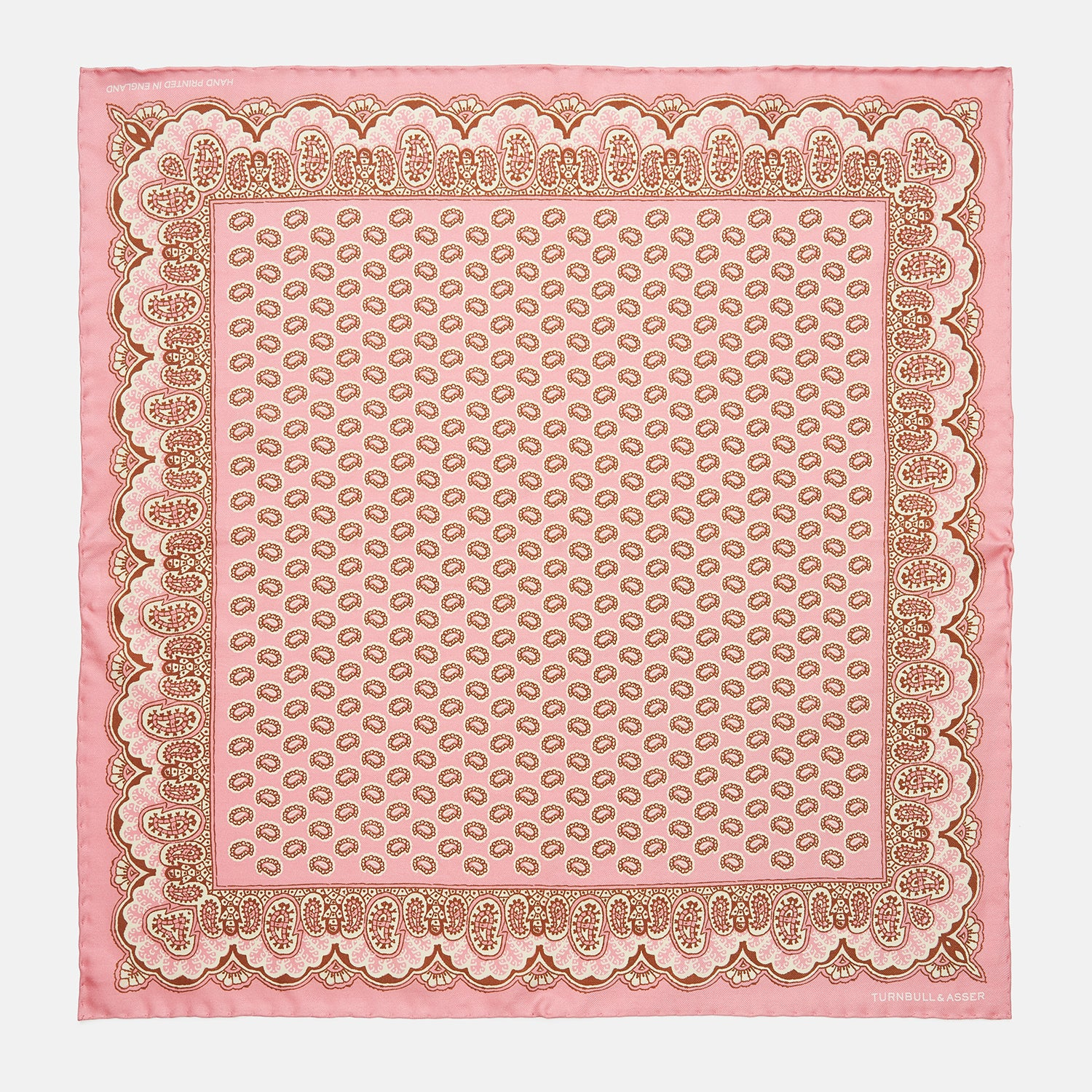 Pink Neat Paisley Silk Pocket Square