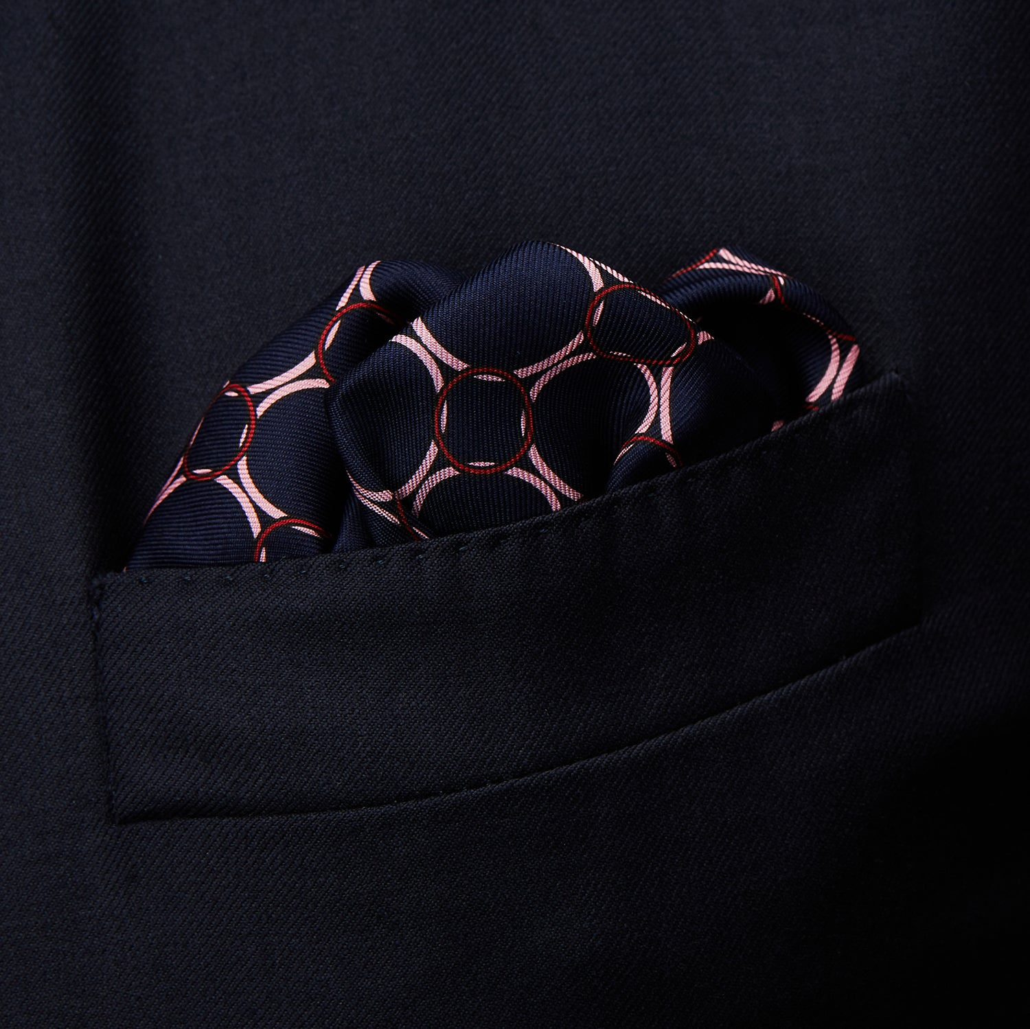 Purple Chain Link Print Silk Pocket Square