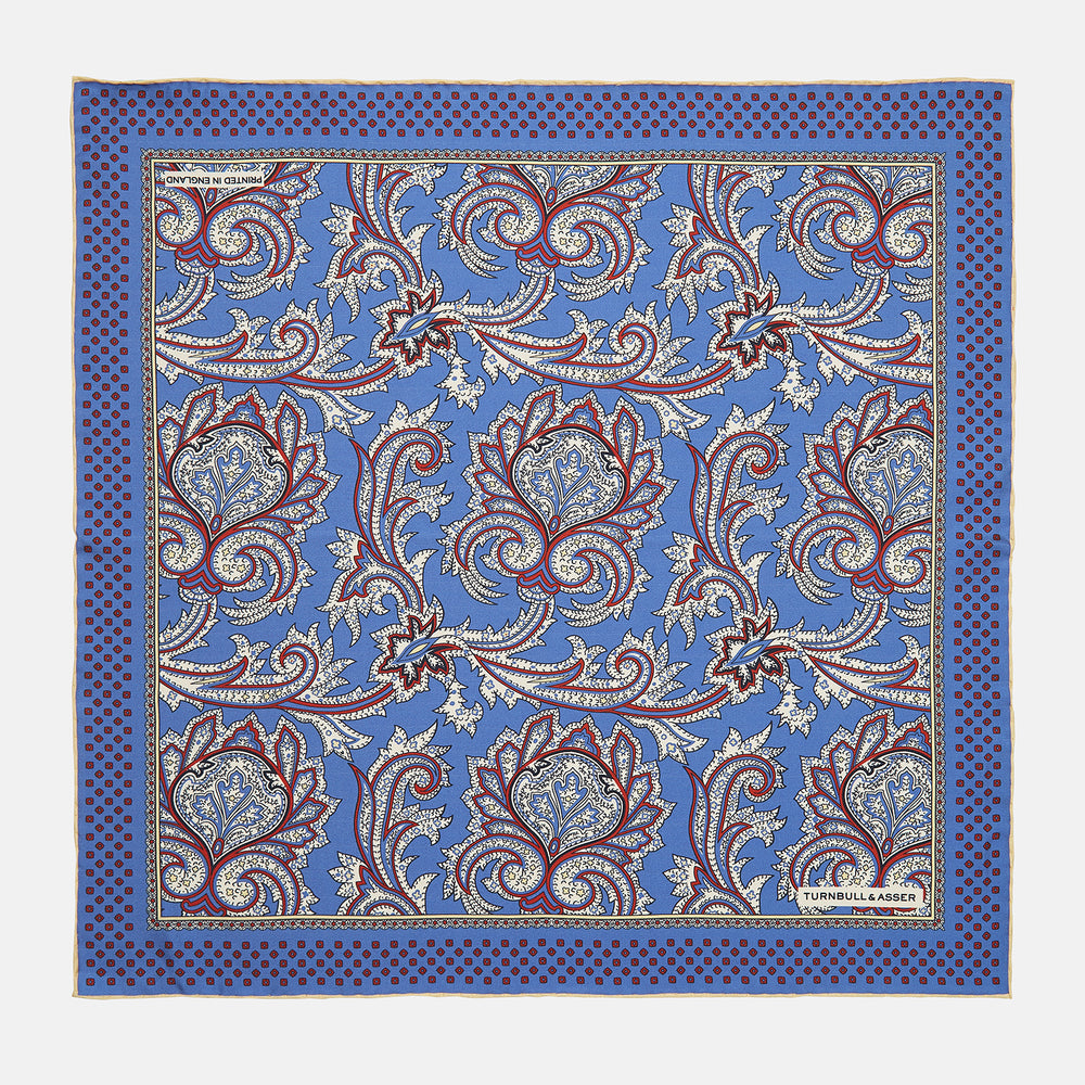 Blue Paisley Petal Print Silk Pocket Square