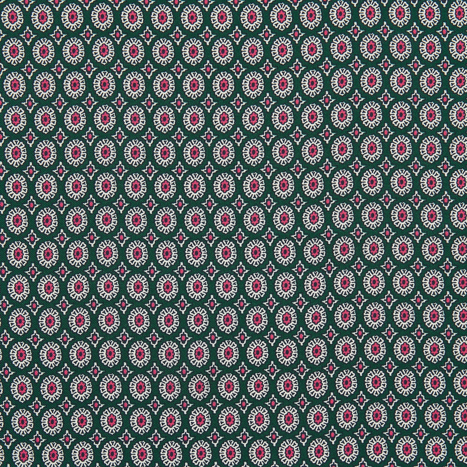 Forest Green and Pink Sarasa Print Silk Pocket Square