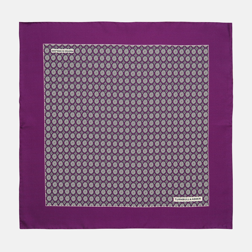Magenta Sarasa Print Silk Pocket Square