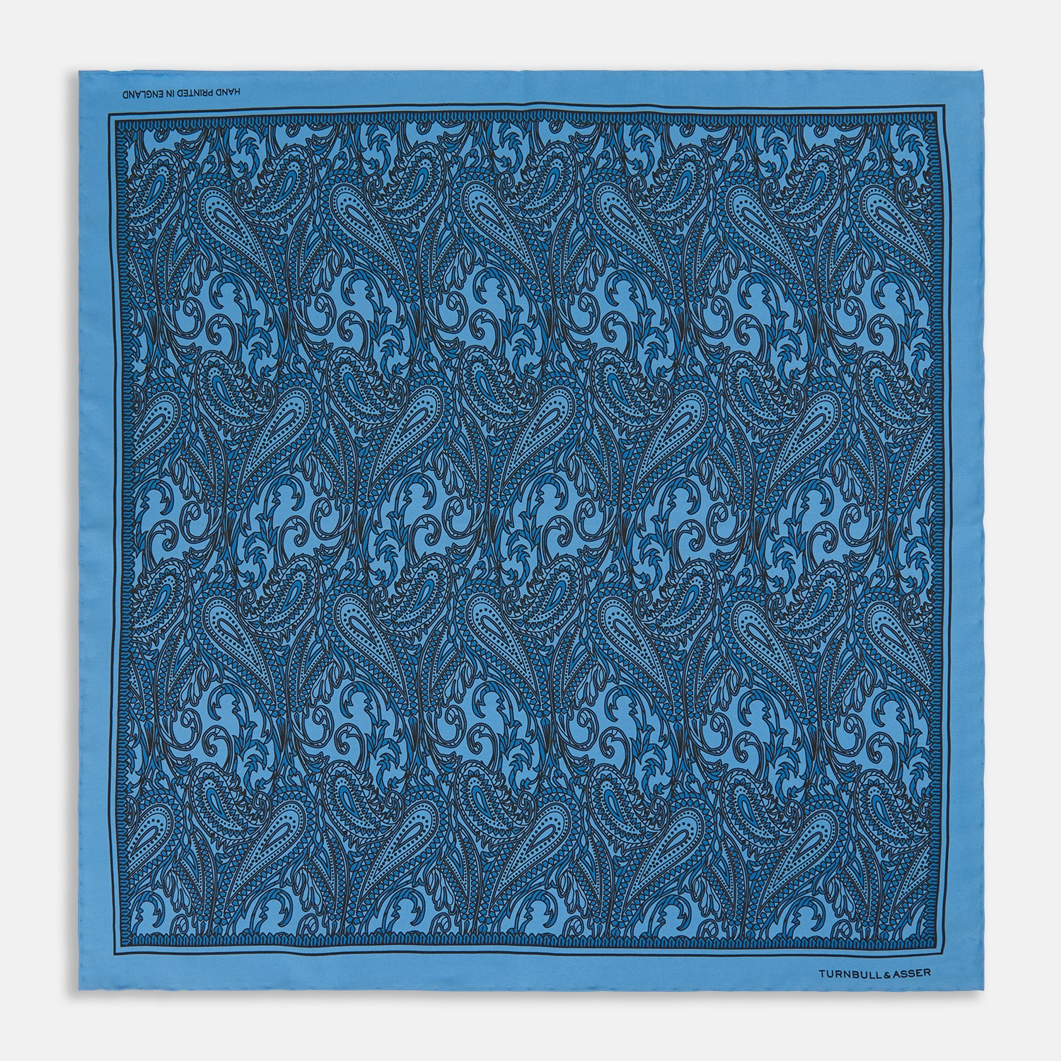 Royal Blue House Paisley Print Silk Pocket Square
