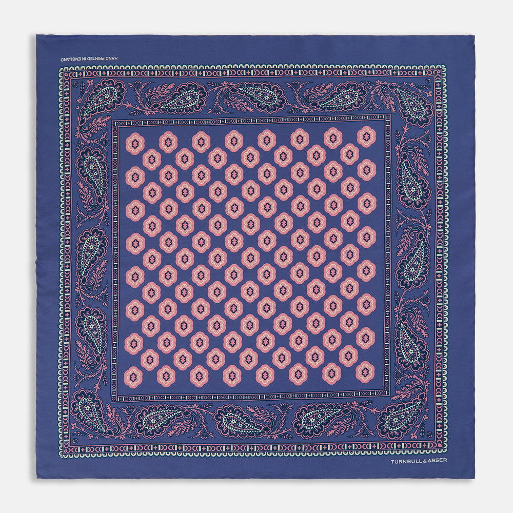 Navy Paisley Vine Print Silk Pocket Square