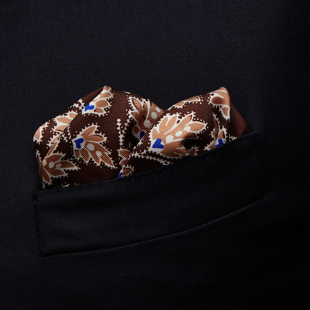 Chocolate Vine Print Silk Pocket Square