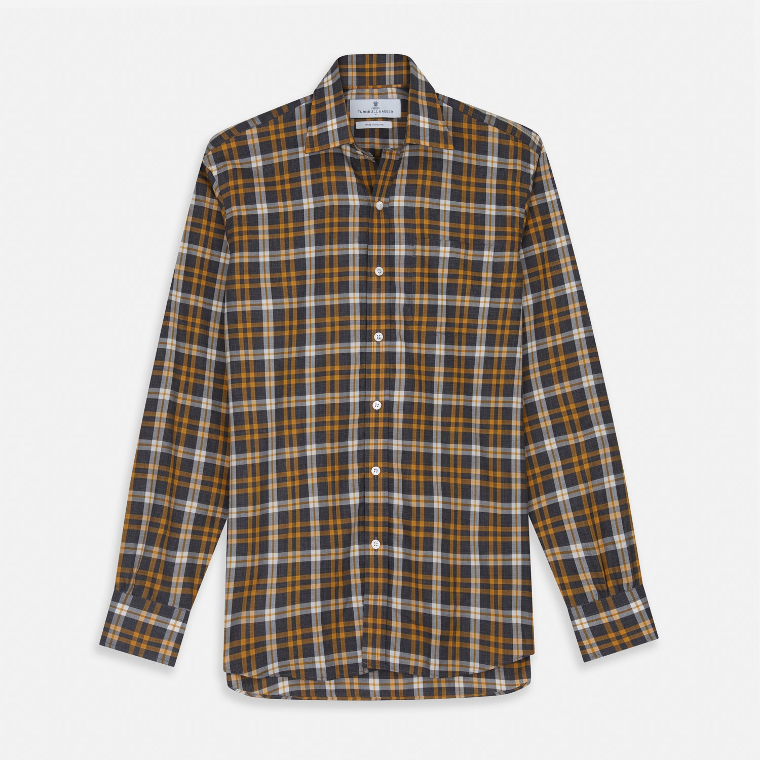 Yellow Check Weekend Fit Flannel Shirt with Derby Collar and 1-Button Cuffs