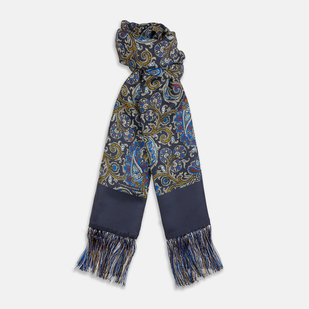 Blue Paisley Cashmere Backed Silk Scarf