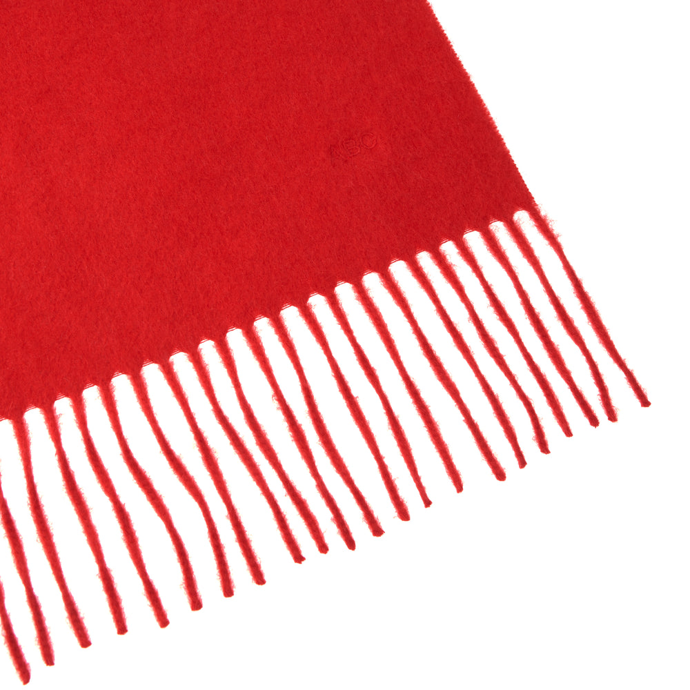 Monogrammed Red Pure Cashmere Scarf