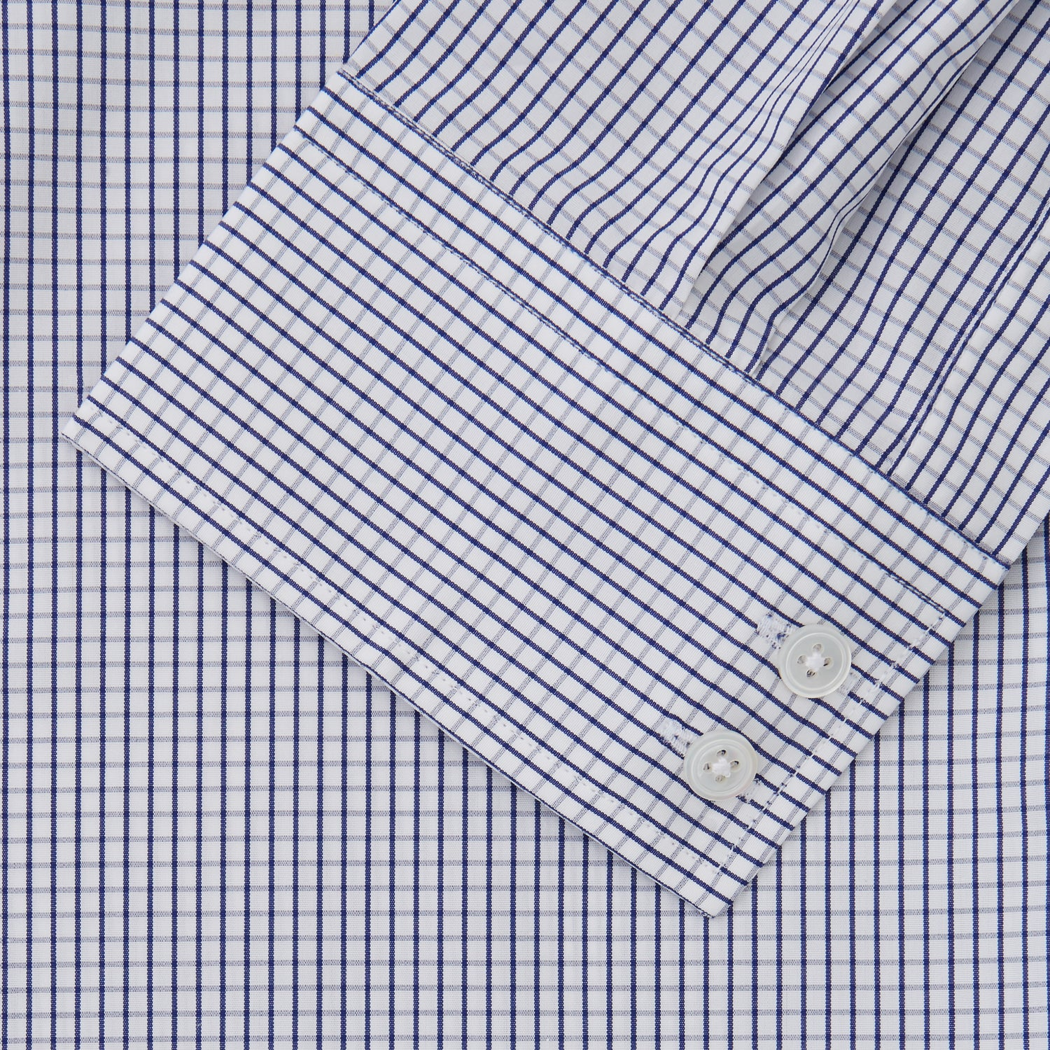 Blue Check Tailored Fit Shirt with Kent Collar and 2-Button Cuffs