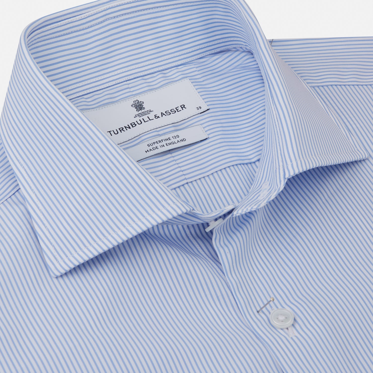 Blue Bengal Stripe Tailored Fit Shirt with Kent Collar and 2-Button Cuffs