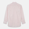 Pink And White Stripe Twill Cotton Regular Fit Shirt with T&A Collar And Double Cuffs
