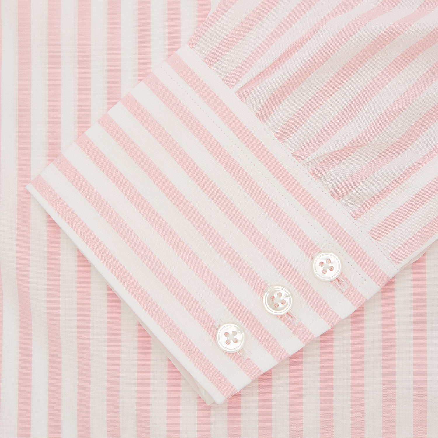 Pink & White Candy Stripe Poplin Regular Fit Shirt with T&A Collar & 3-Button Cuffs
