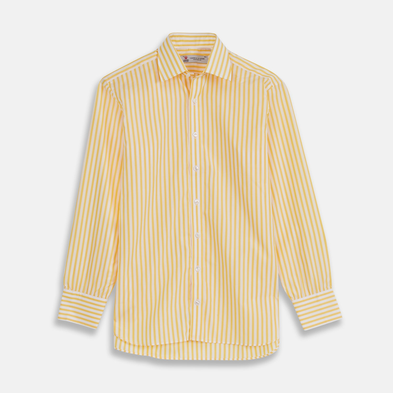 Yellow & White Candy Stripe Shirt with T&A Collar and 3-Button Cuffs