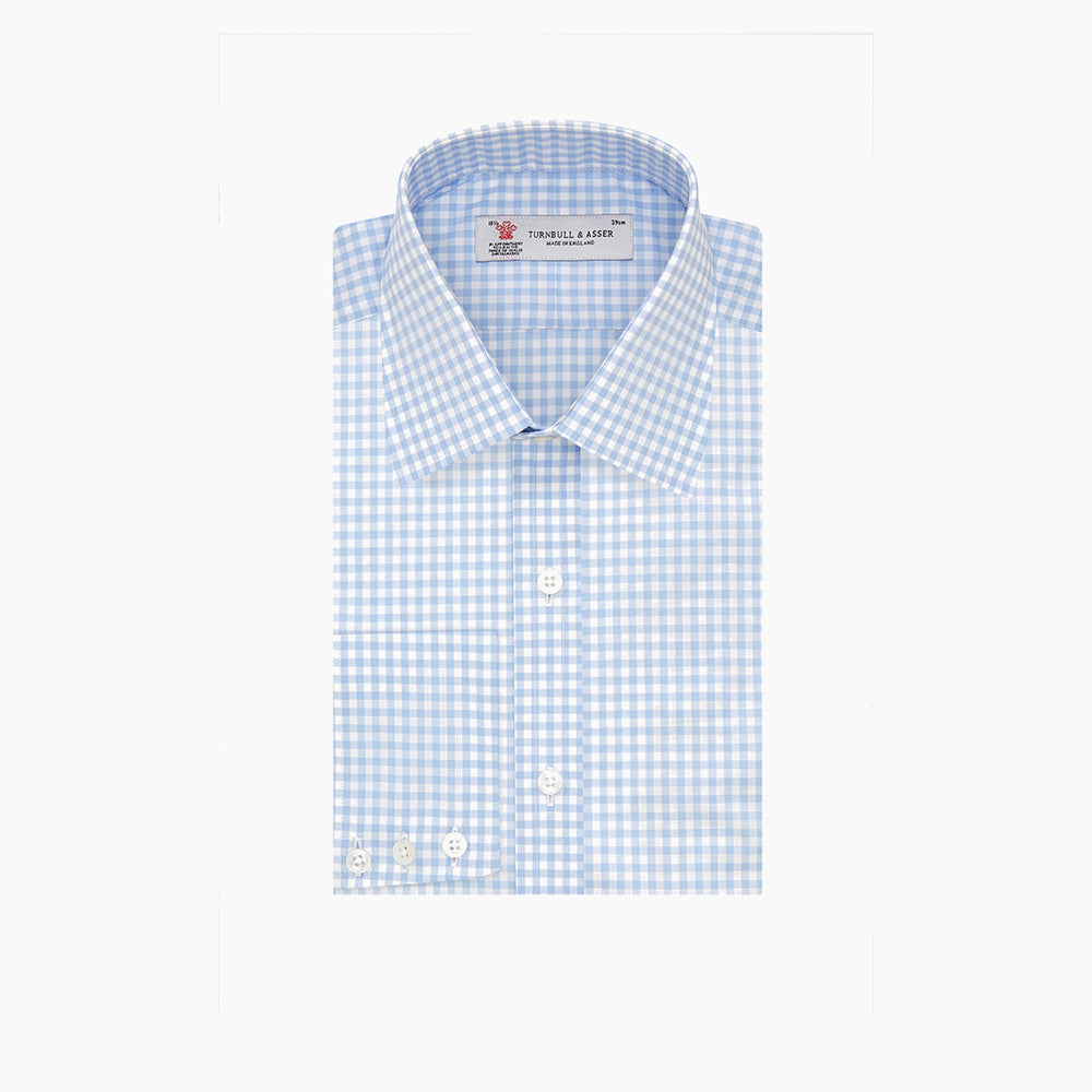 Blue & White Cotton Gingham Check Shirt with T&A Collar and 3-Button Cuffs