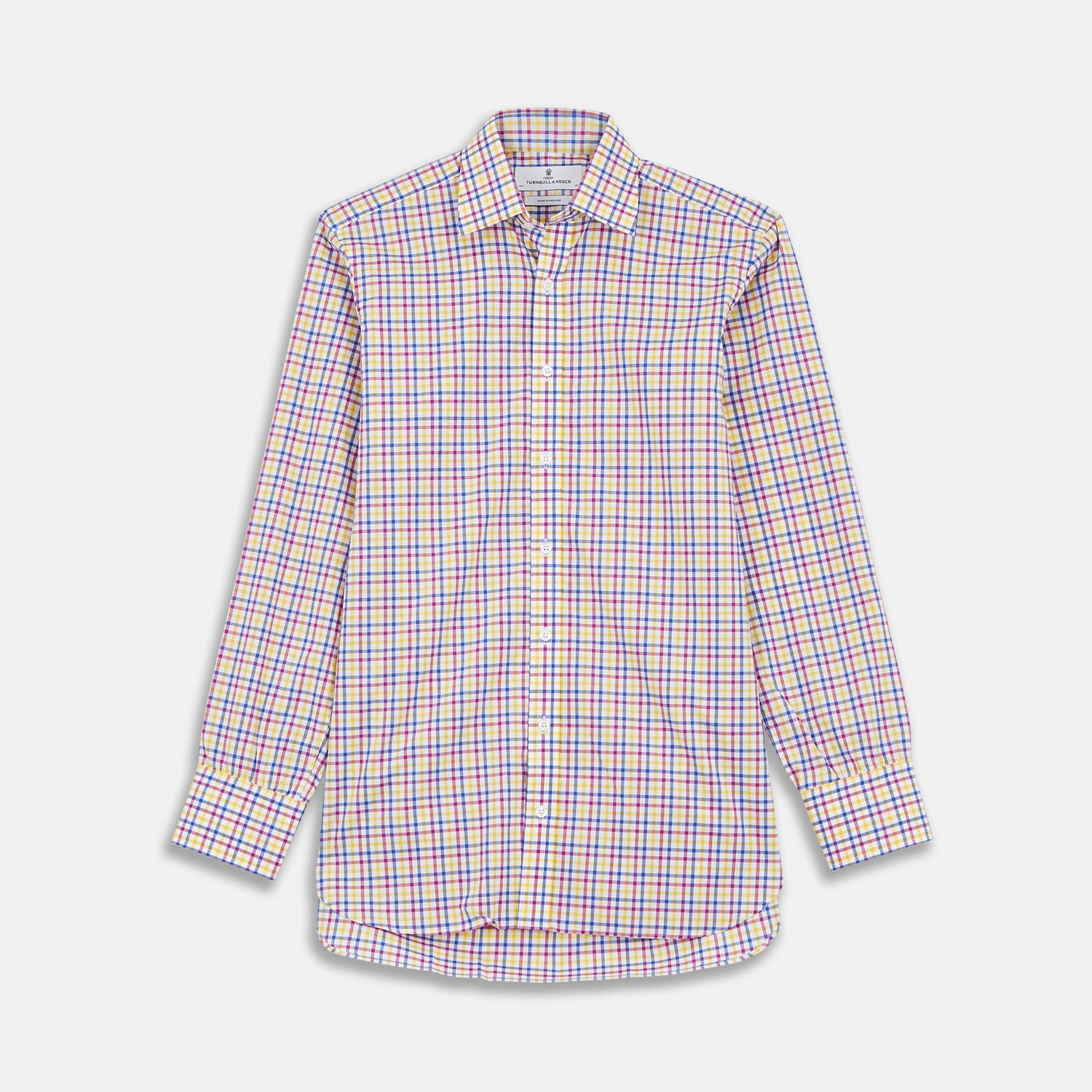 Blue, Yellow and Pink Check Shirt with T&A Collar and 3-Button Cuffs