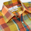 Orange Madras Check Regular Fit Linen Shirt with T&A Collar and 3-Button Cuffs
