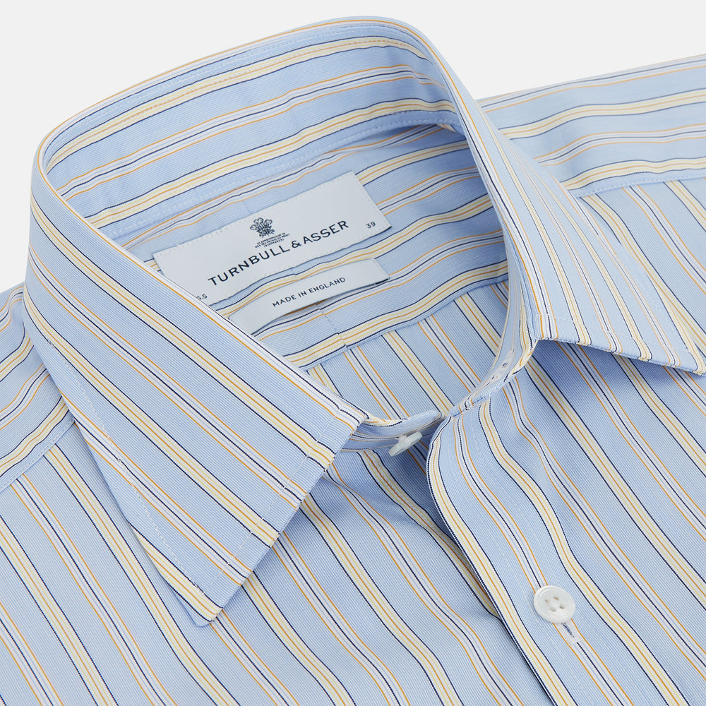 Blue And Yellow Stripe Poplin Cotton Regular Fit Shirt with T&A Collar and 3-Button Cuffs
