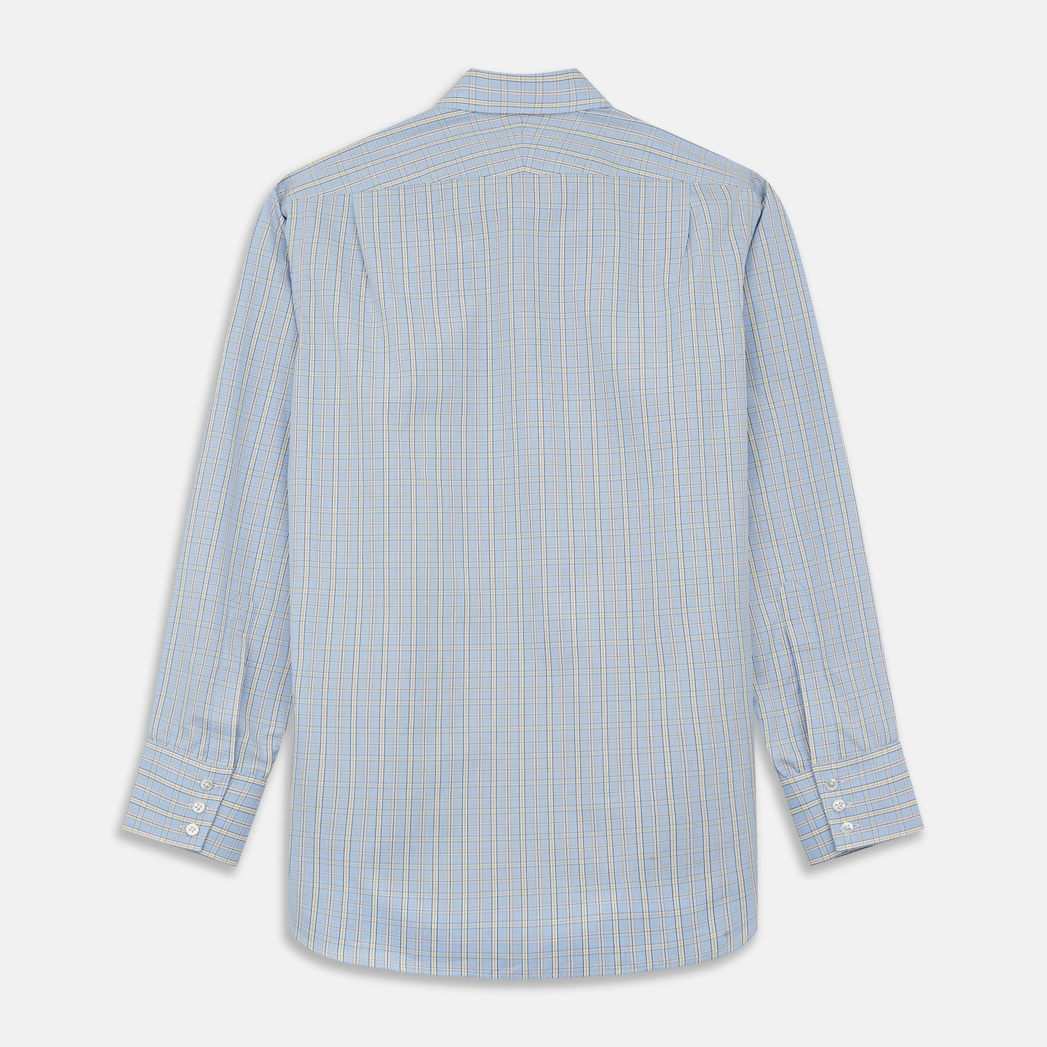 Blue And Yellow Check Poplin Cotton Regular Fit Shirt with T&A Collar and 3-Button Cuffs