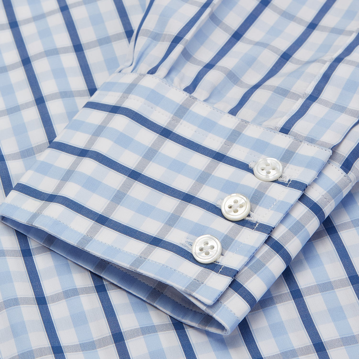 Blue Check Poplin Shirt with T&A Collar and 3-Button Cuffs