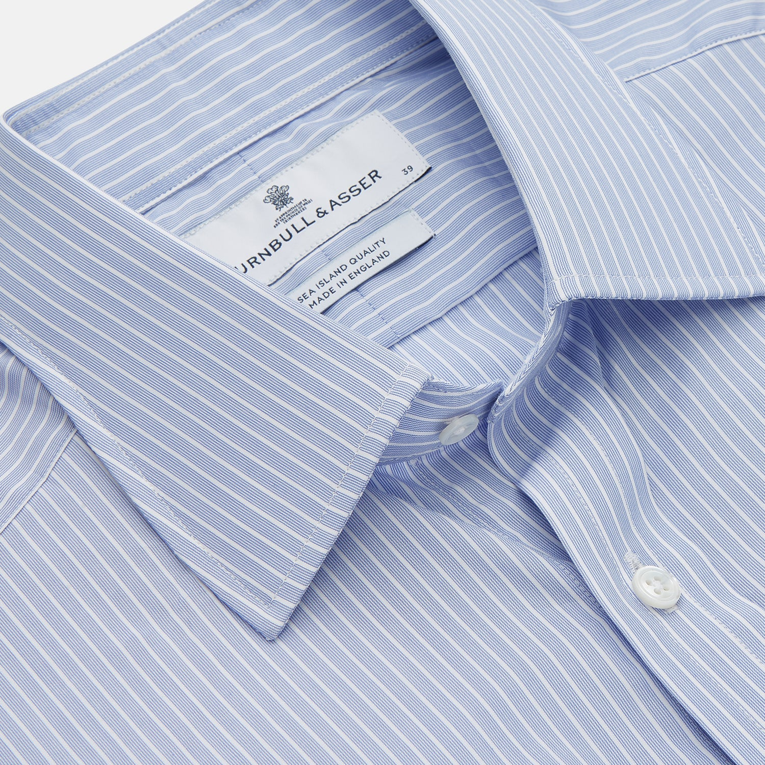 Blue And White Stripe Sea Island Quality Cotton Shirt With T&A Collar and 3-Button Cuffs