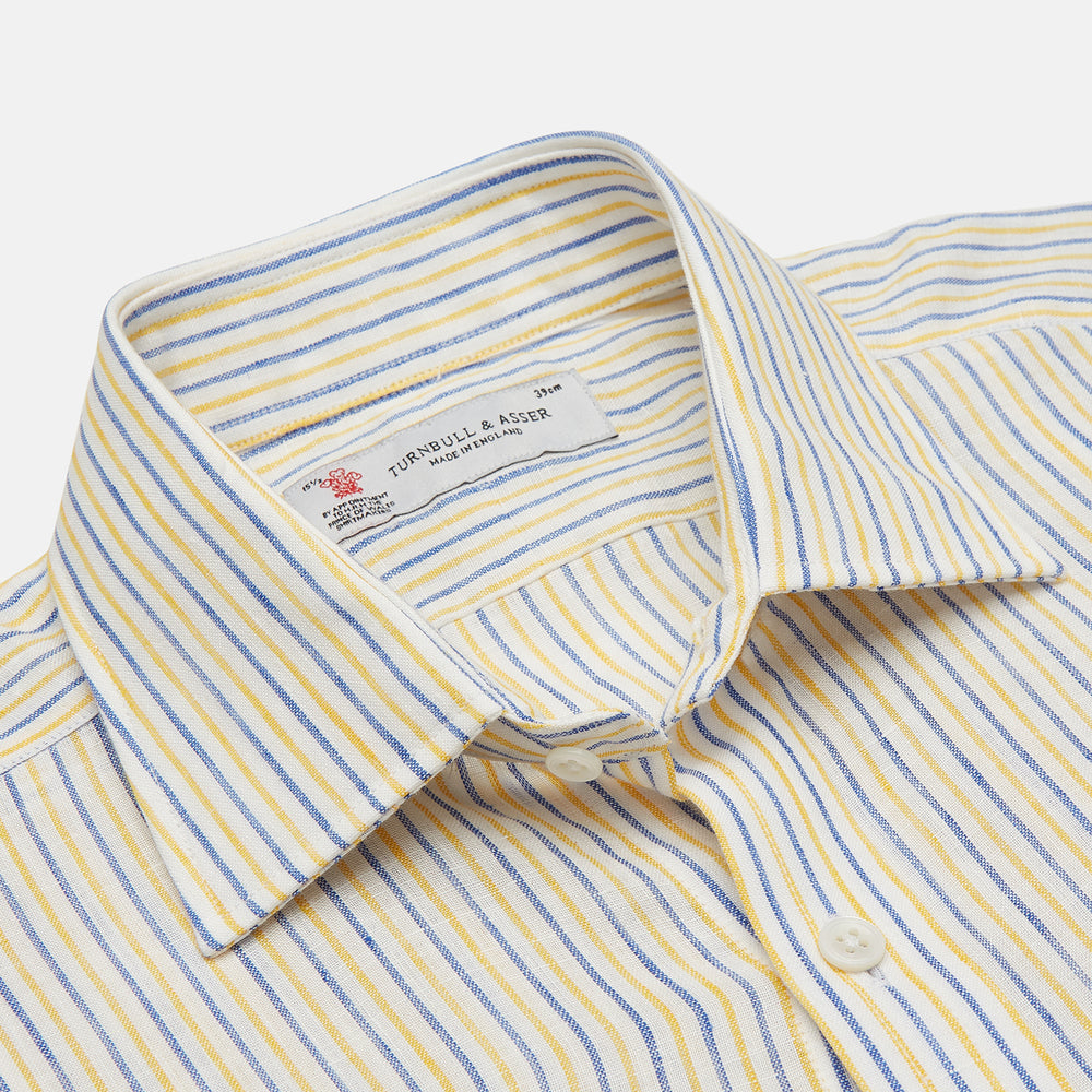 Yellow and Blue Ticking Stripe Linen Shirt with POW Collar and 3-Button Cuffs