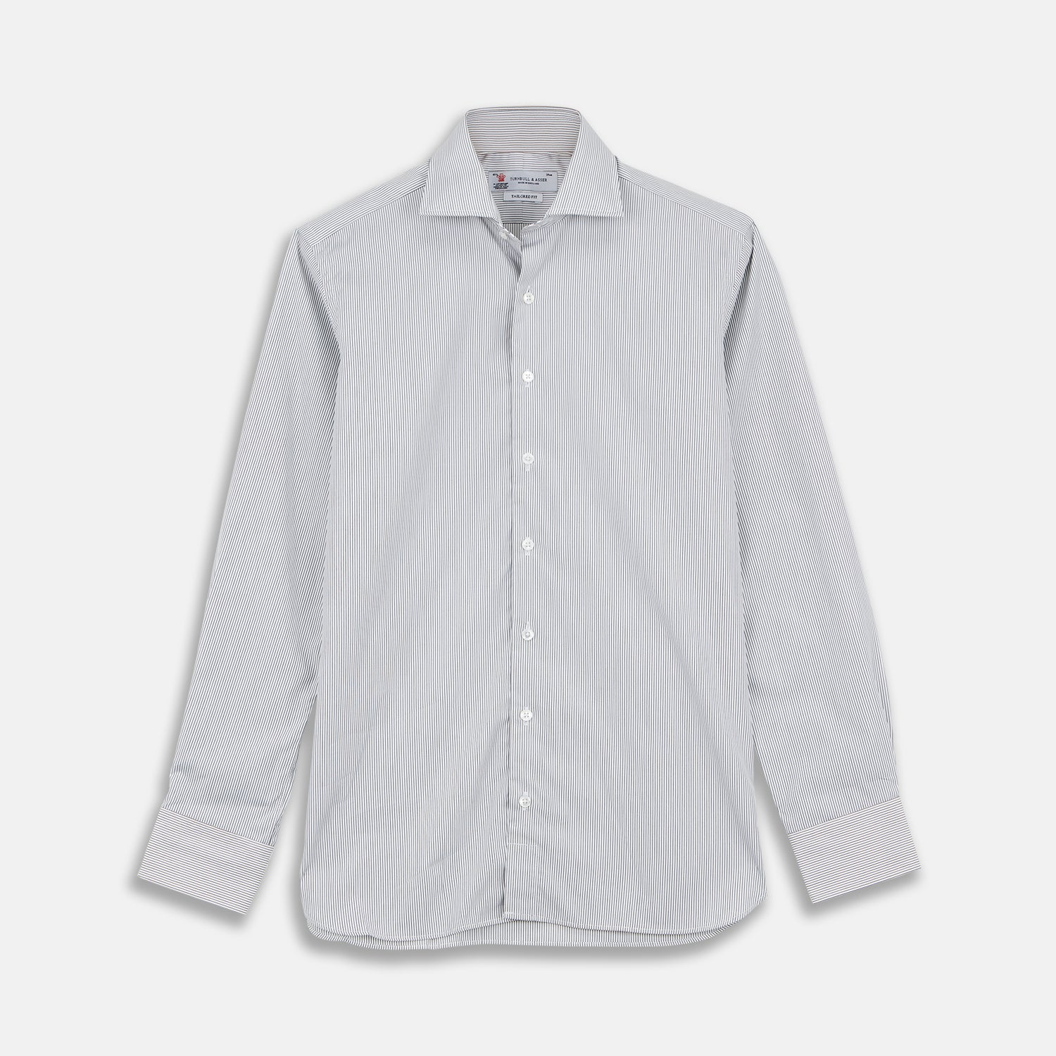 Tailored Fit Grey and White Pinstripe Shirt with Kent Collar and 2-Button Cuffs