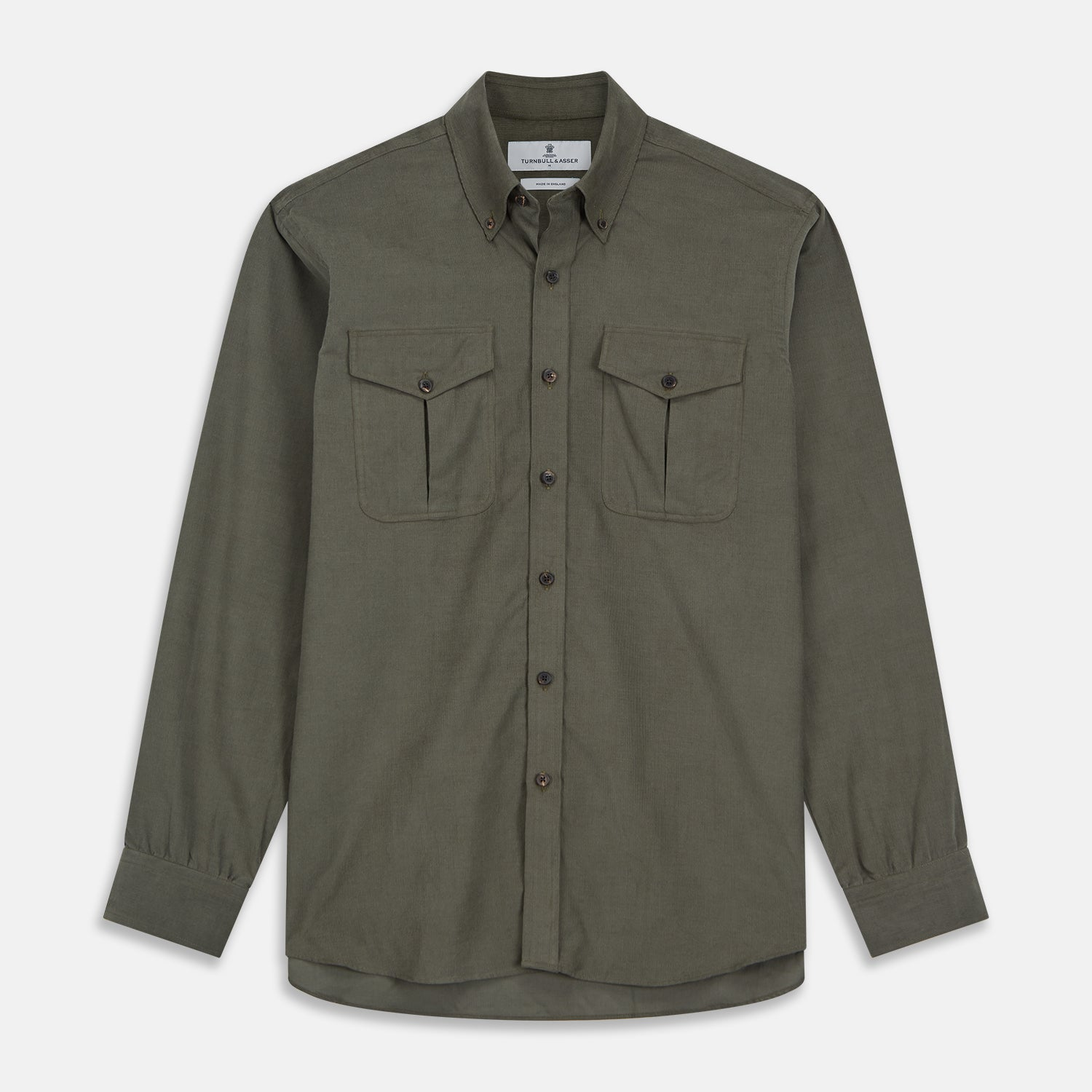 Khaki Corduroy Officer Weekend Fit Shirt with Dorset Collar and One-Button Cuffs